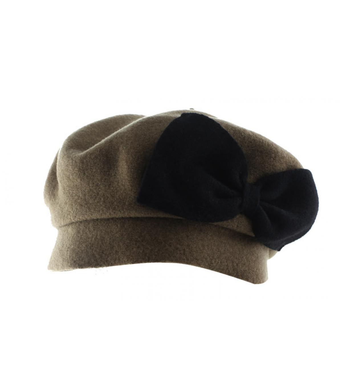 zwarte strik beige baret