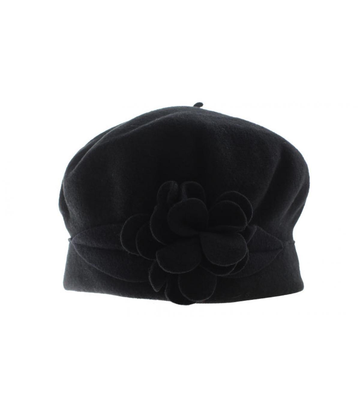 zwarte wollen muts bloem