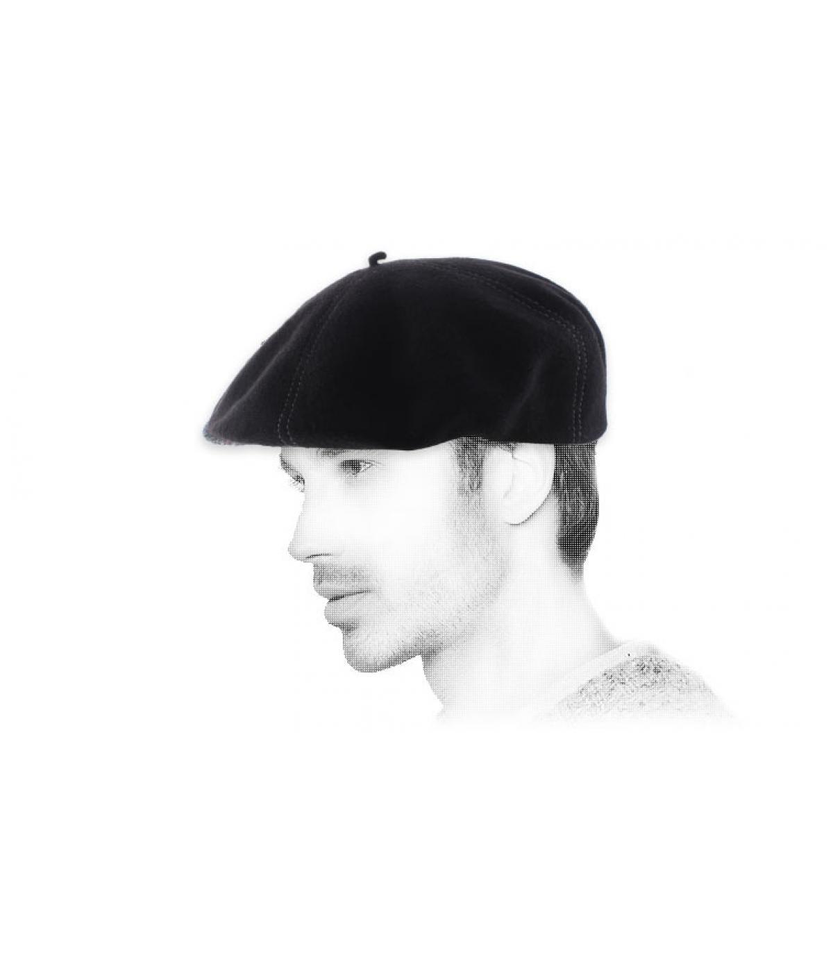zwarte wollen baret muts