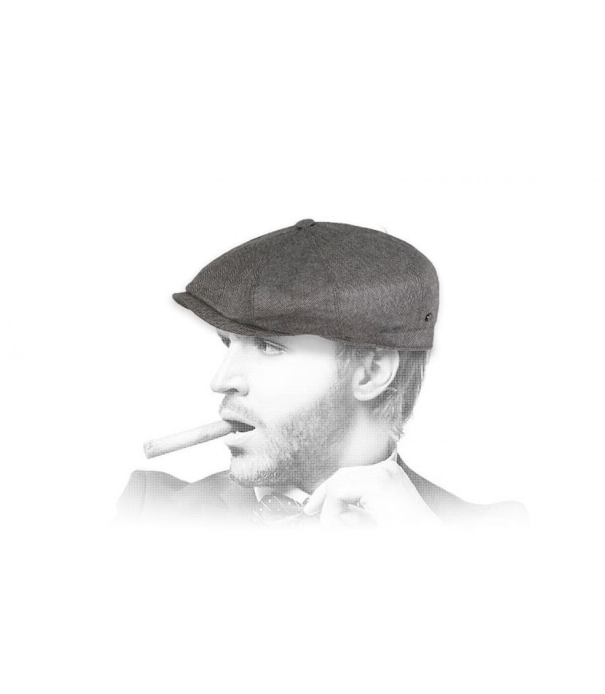 grijze zijde wol baret