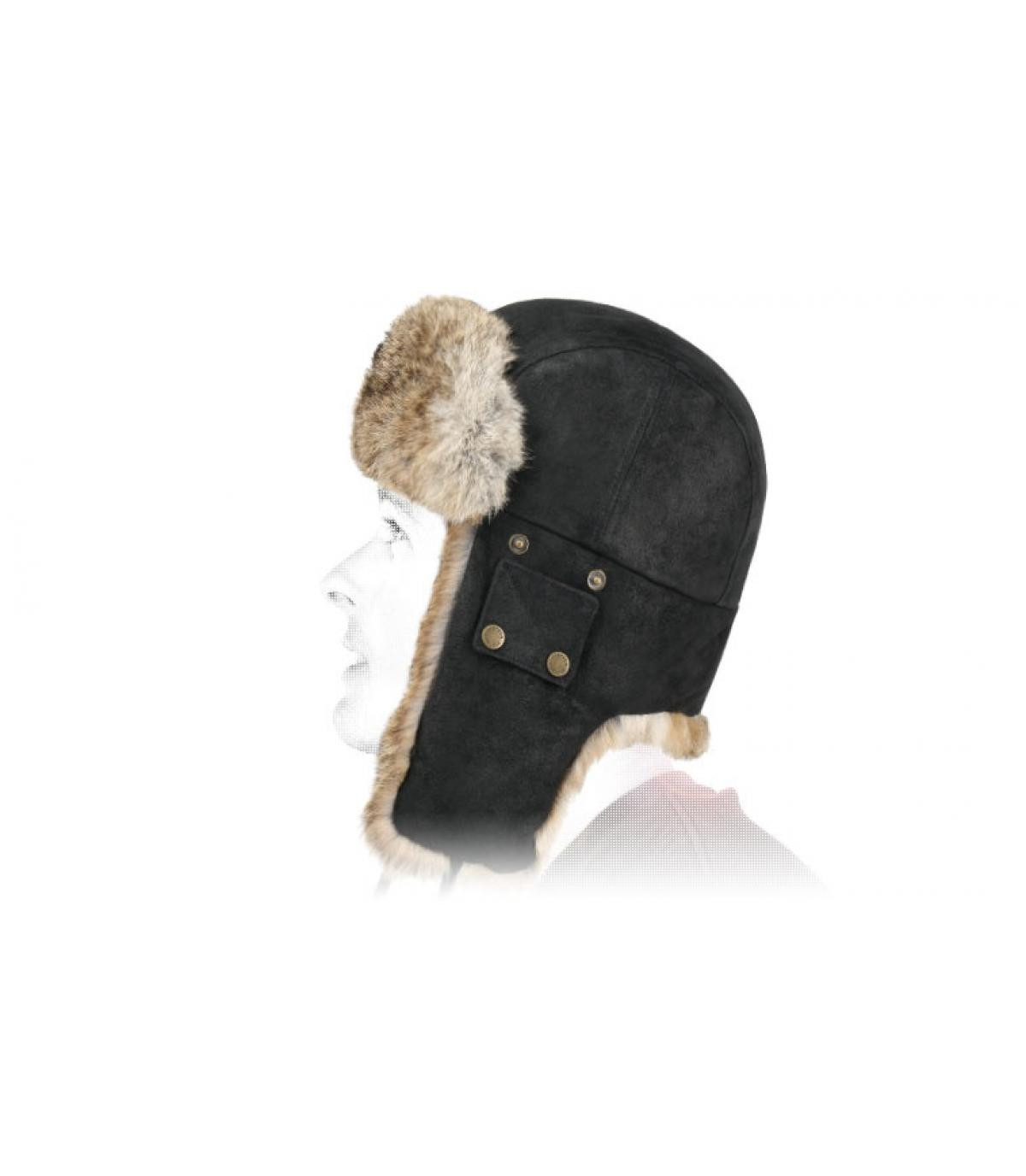 Zwart lederen bontmuts