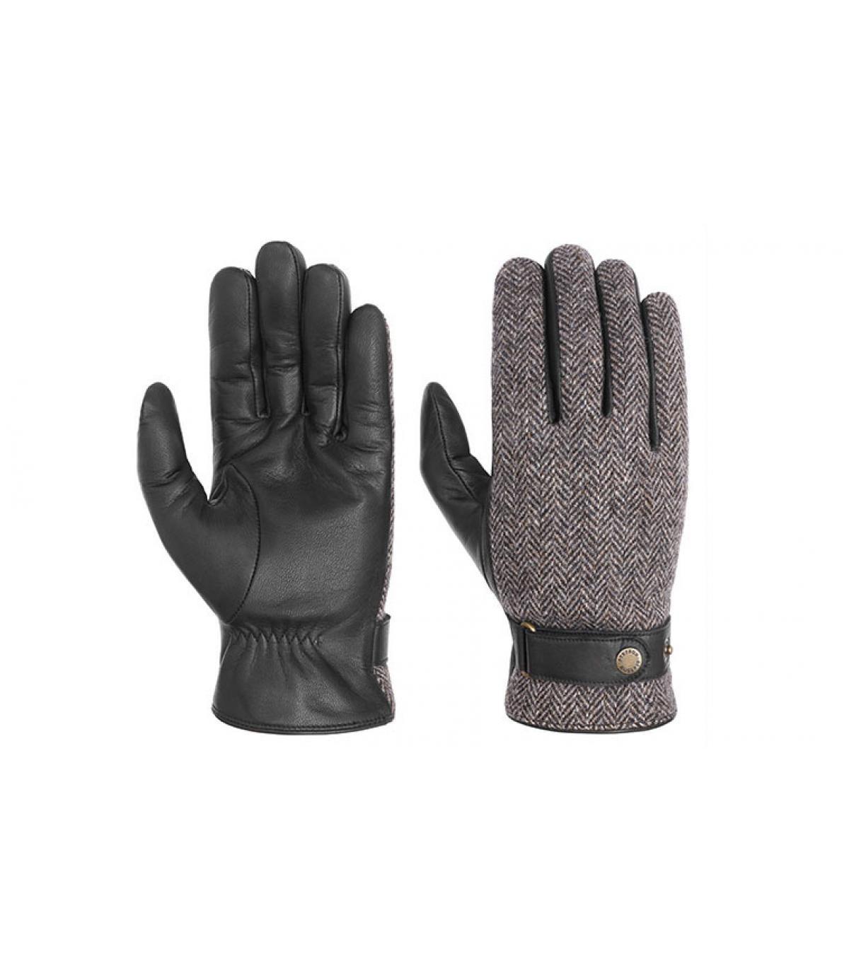 handschoenen leer en tweed Stetson