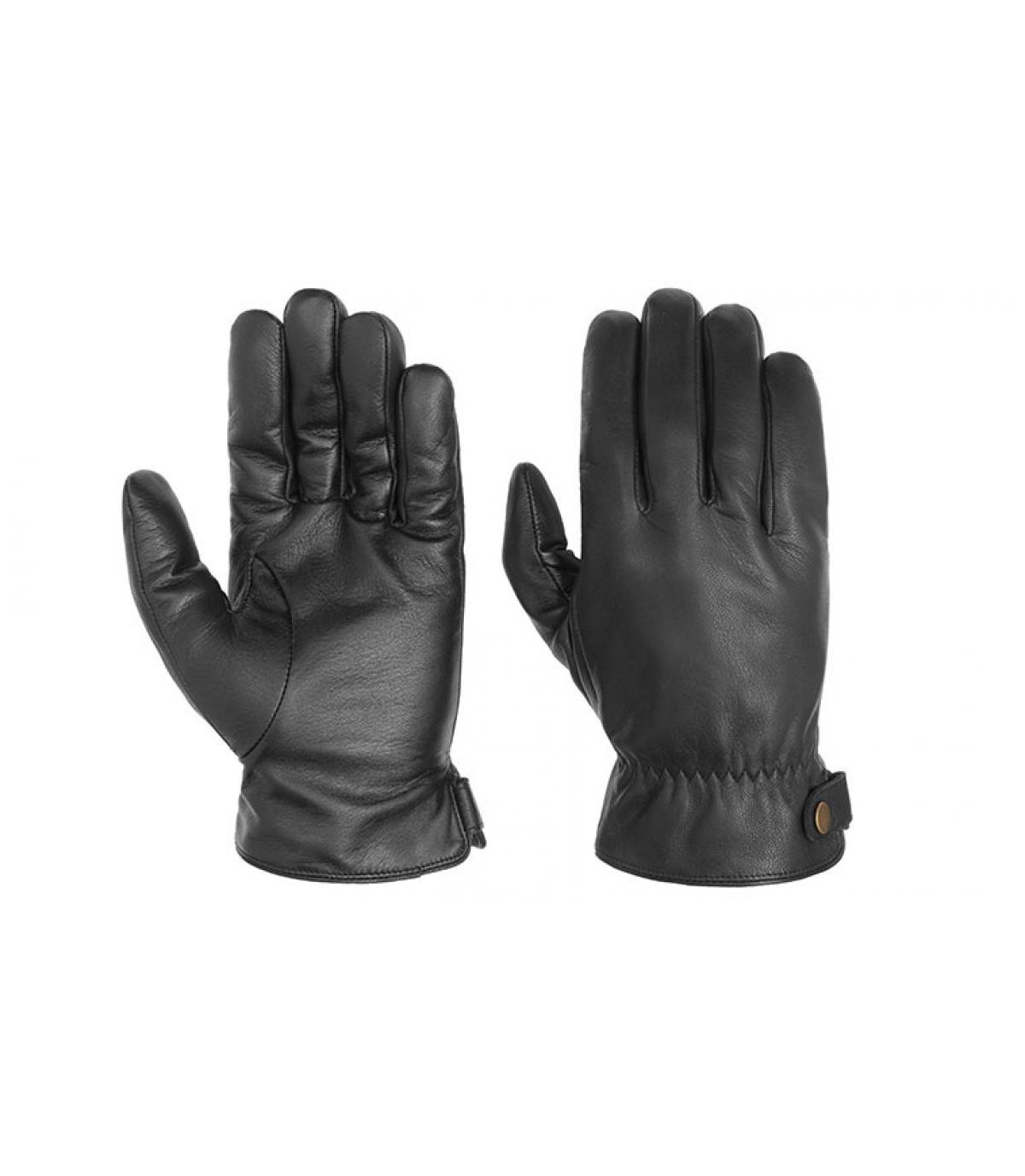 zwart lederen handschoenen raken Stetson