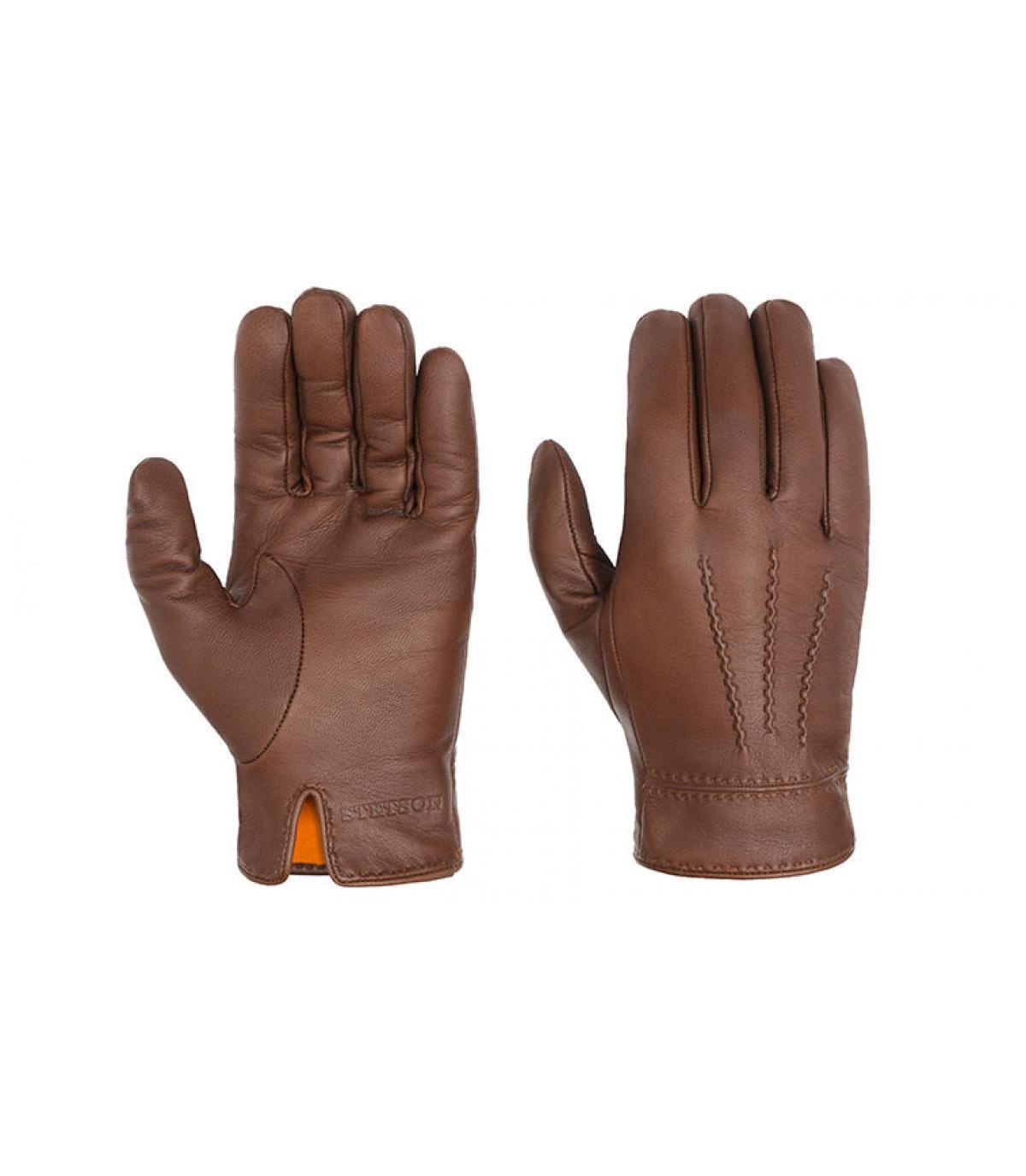 Bruin lederen handschoenen Stetson