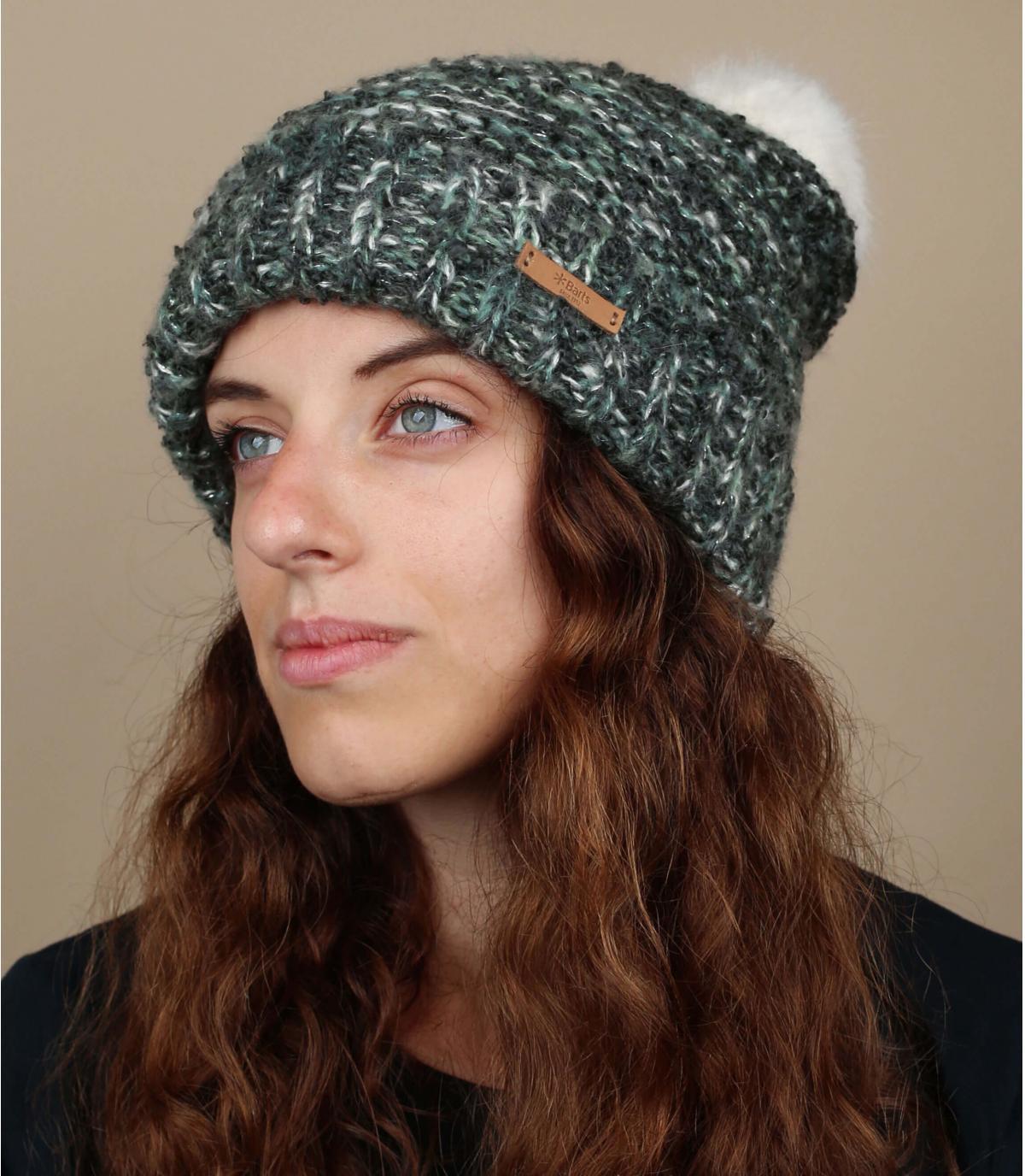grijswit bobble hoed