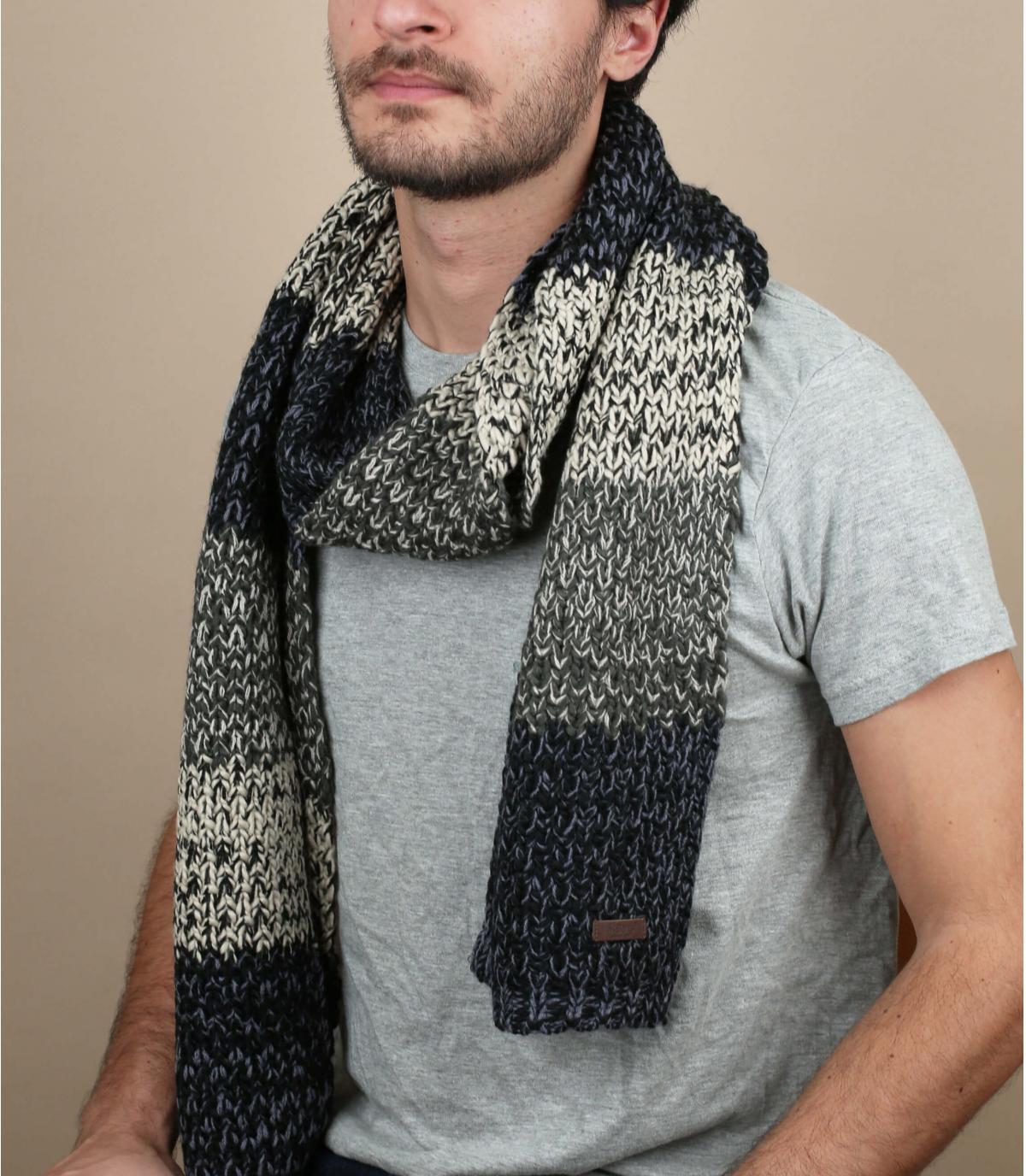 zwart grijs gestreepte sjaal