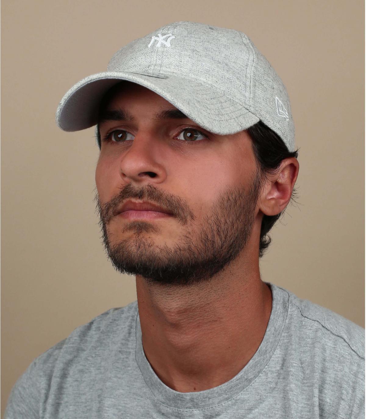 NY grijs visgraat cap