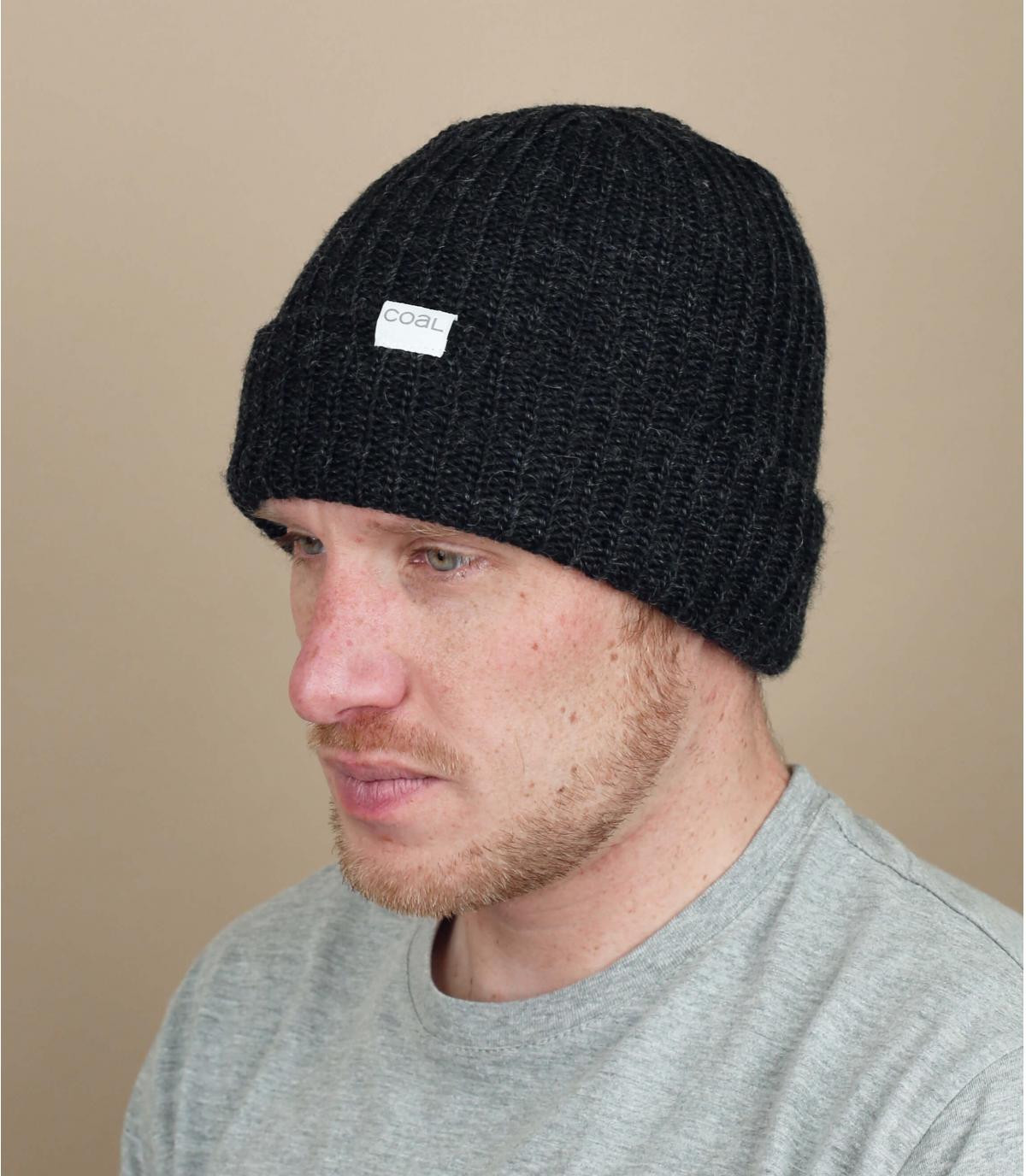 Steenkool zwarte mohair cap
