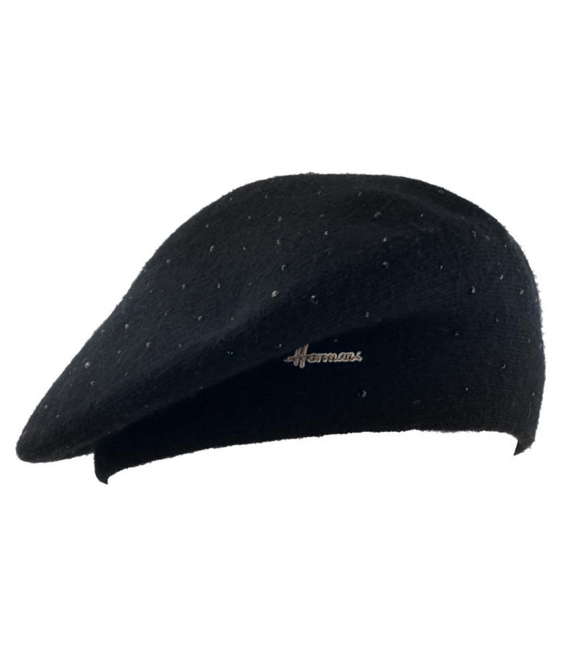 zwarte baret strass