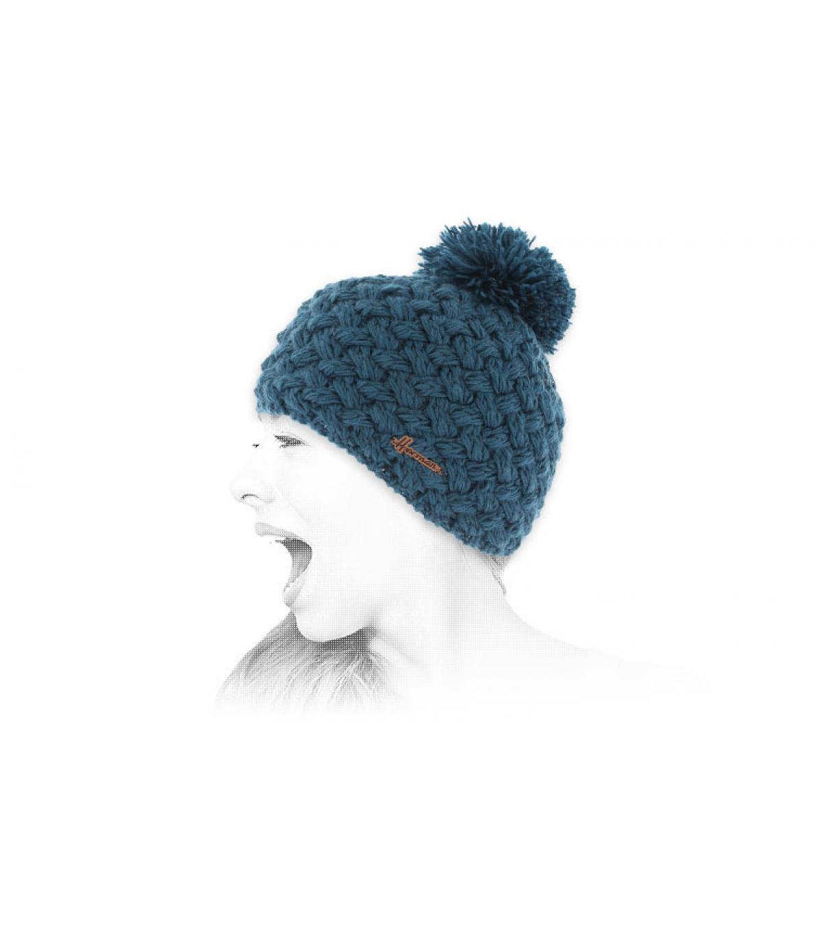 wollen cap blue leeswijzer