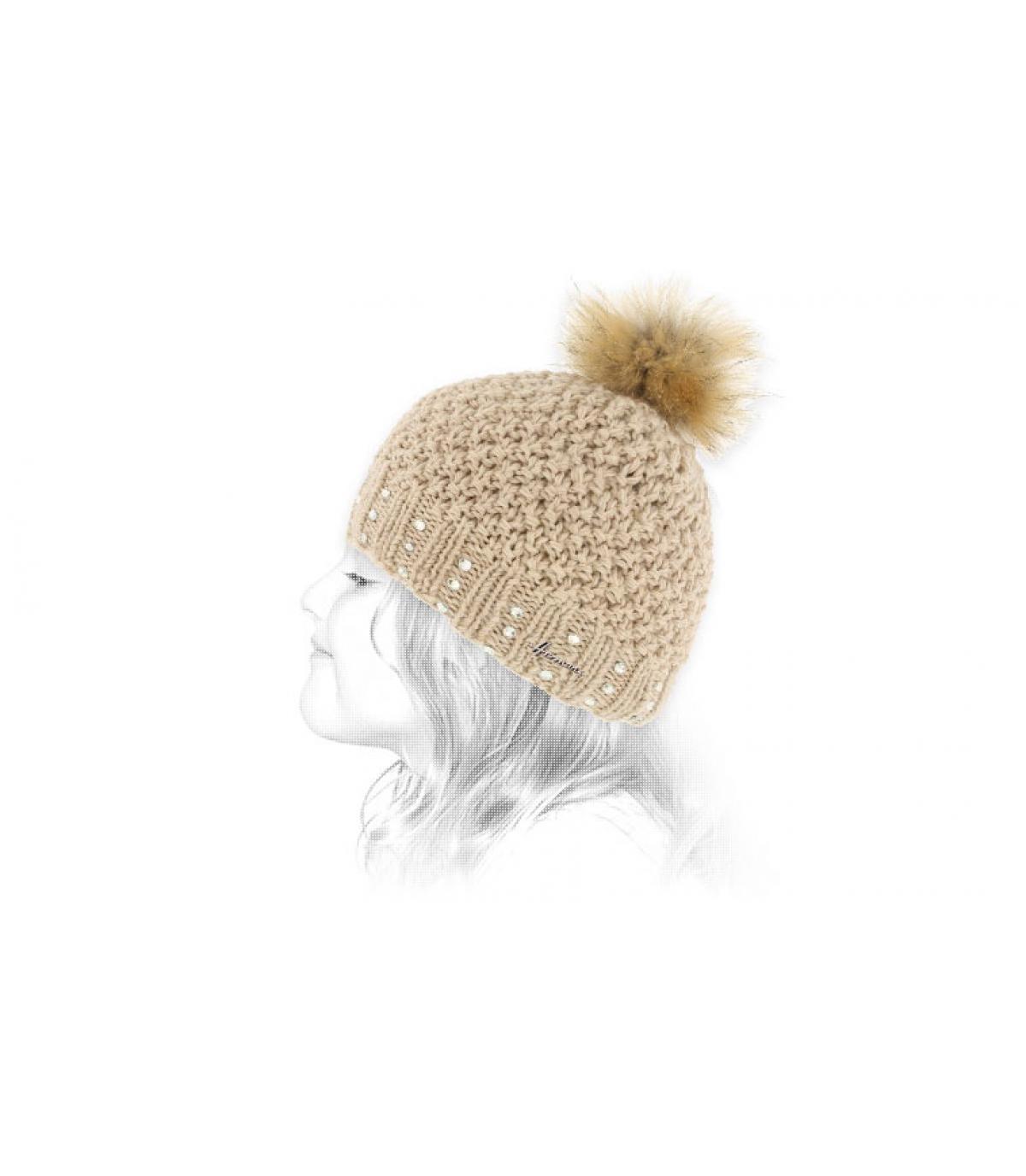 beige bont pompon hoed kind