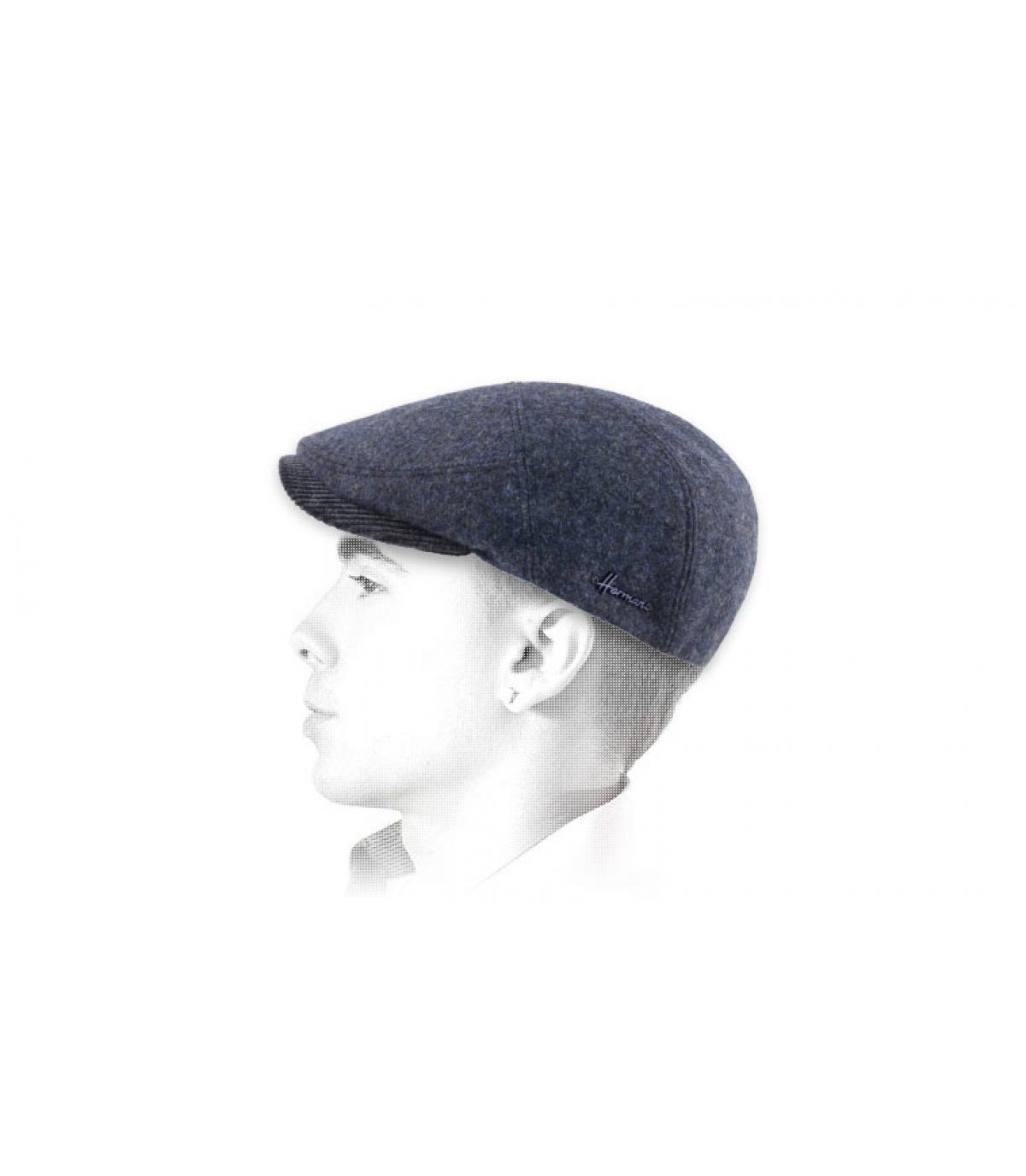 blauw wol baret