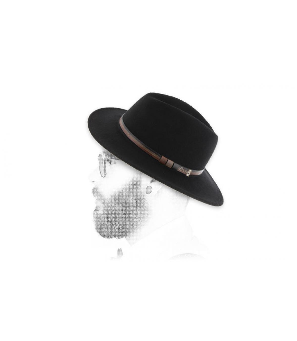 zwarte wollen fedora