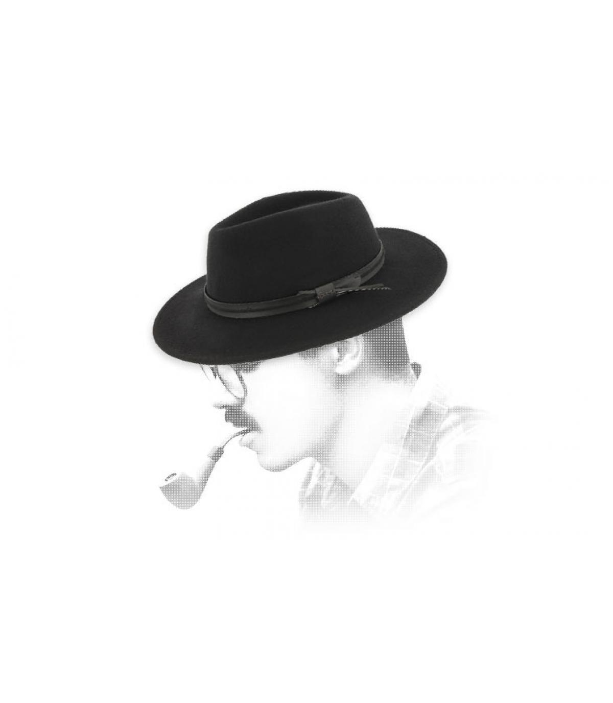 Herman zwarte wollen fedora