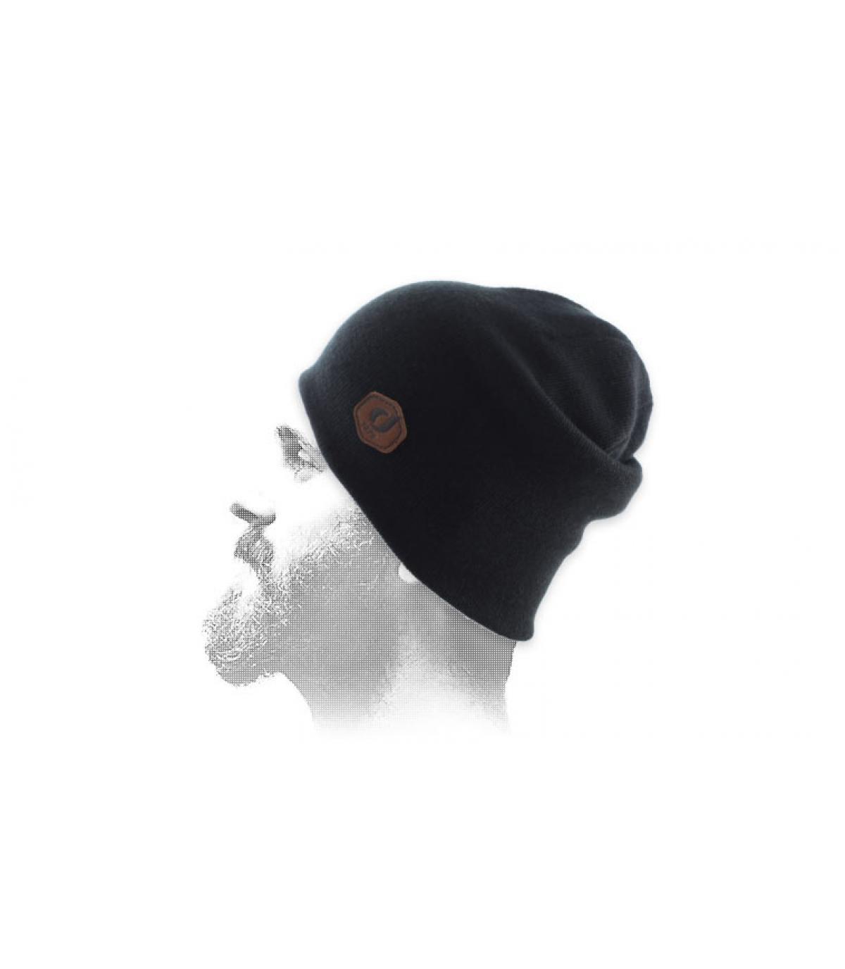 zwarte patch manchet hoed