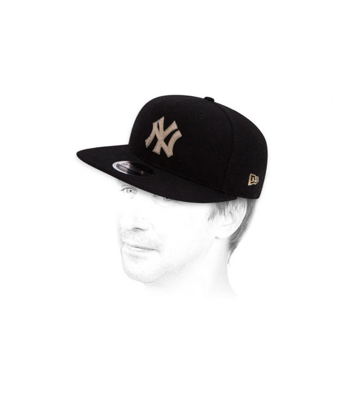 Snapback NY Black Melton